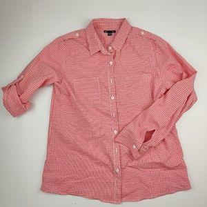 Gap Women's Long Sleeve Roll Tab Shirt Red & White